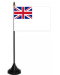 White Ensign Desk / Table Flag with plastic stand and base.
